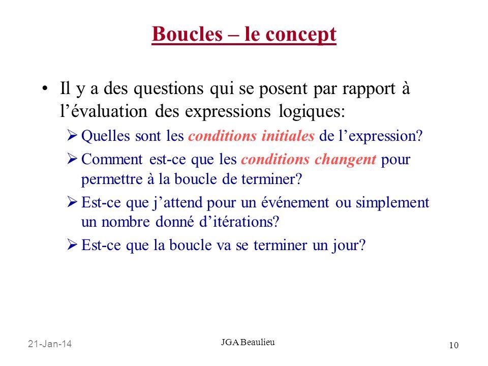 21-Jan-14 10 JGA Beaulieu Boucles – le concept Il y a des questions qui se posent par rapport à lévaluation des expressions logiques: Quelles sont les conditions initiales de lexpression.