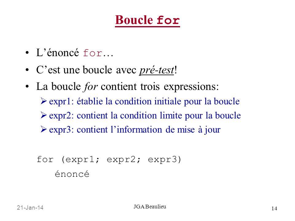 21-Jan-14 14 JGA Beaulieu Boucle for Lénoncé for … Cest une boucle avec pré-test.
