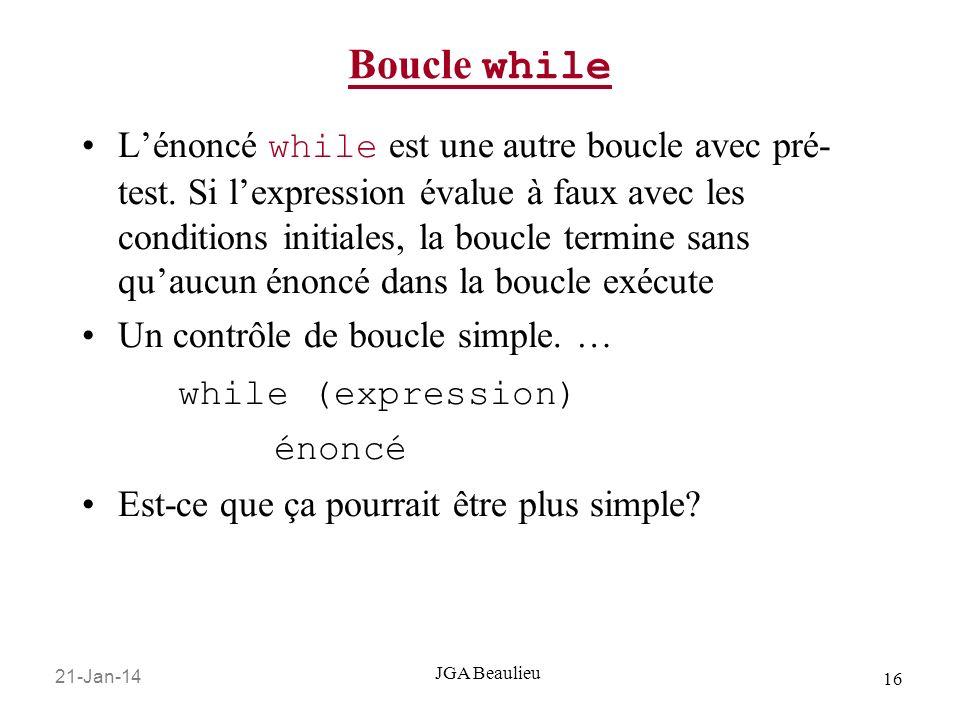 21-Jan-14 16 JGA Beaulieu Boucle while Lénoncé while est une autre boucle avec pré- test.
