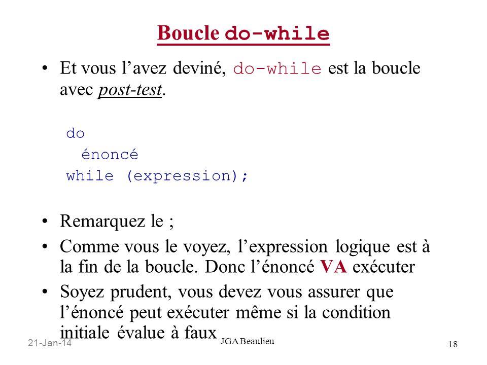 21-Jan-14 18 JGA Beaulieu Boucle do-while Et vous lavez deviné, do-while est la boucle avec post-test.