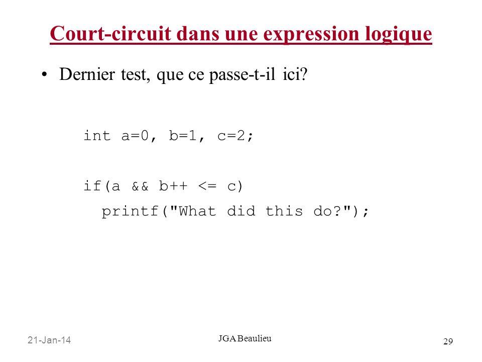 21-Jan-14 29 JGA Beaulieu Court-circuit dans une expression logique Dernier test, que ce passe-t-il ici.