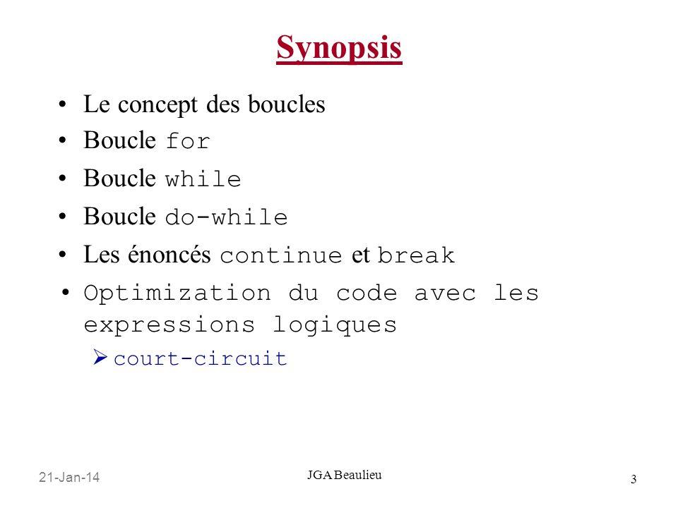 21-Jan-14 3 JGA Beaulieu Synopsis Le concept des boucles Boucle for Boucle while Boucle do-while Les énoncés continue et break Optimization du code avec les expressions logiques court-circuit