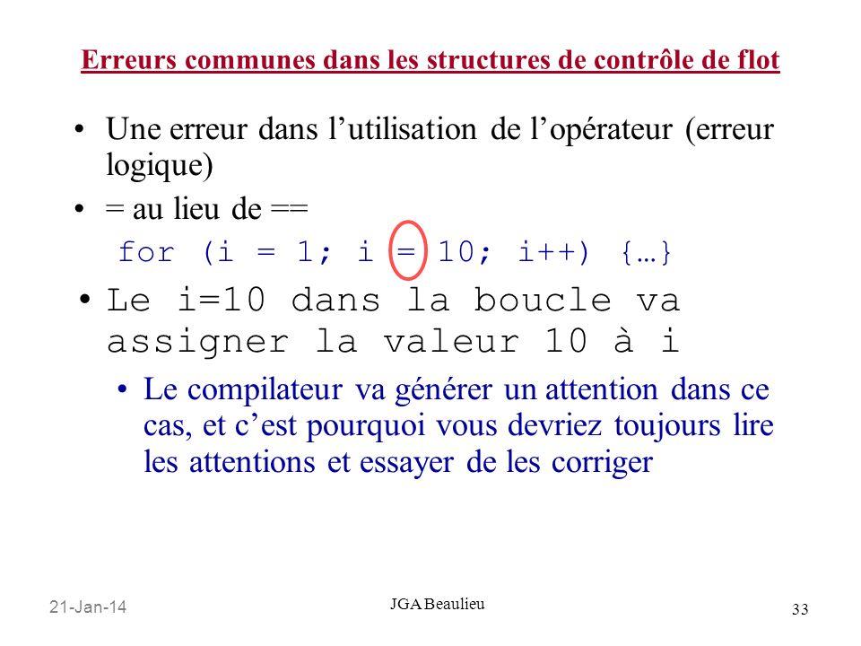 21-Jan-14 33 JGA Beaulieu Erreurs communes dans les structures de contrôle de flot Une erreur dans lutilisation de lopérateur (erreur logique) = au lieu de == for (i = 1; i = 10; i++) {…} Le i=10 dans la boucle va assigner la valeur 10 à i Le compilateur va générer un attention dans ce cas, et cest pourquoi vous devriez toujours lire les attentions et essayer de les corriger