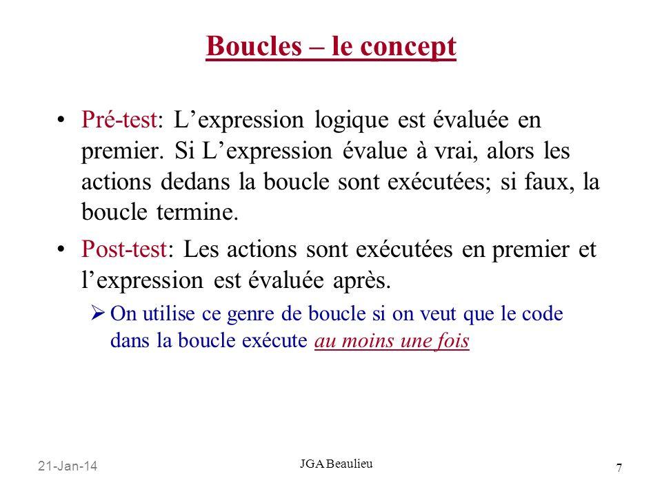 21-Jan-14 7 JGA Beaulieu Boucles – le concept Pré-test: Lexpression logique est évaluée en premier.