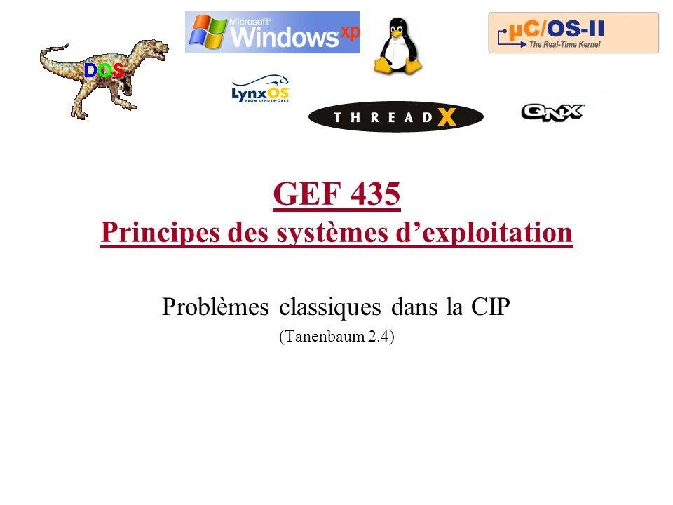 GEF 435 Principes des systèmes dexploitation Problèmes classiques dans la CIP (Tanenbaum 2.4)
