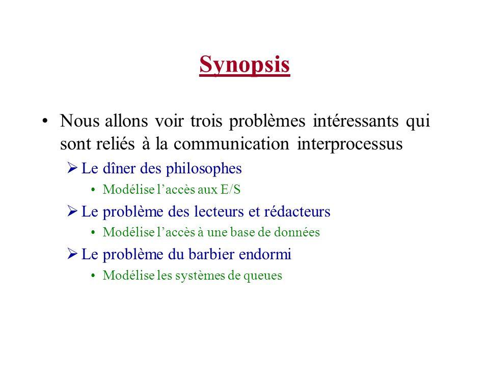 Synopsis Nous allons voir trois problèmes intéressants qui sont reliés à la communication interprocessus Le dîner des philosophes Modélise laccès aux