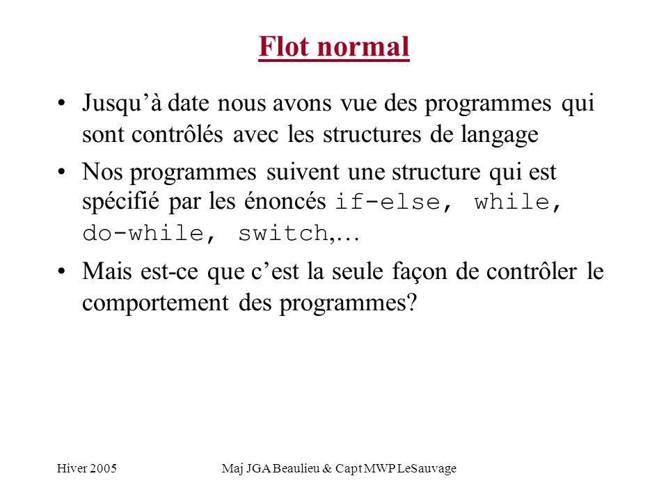 Hiver 2005Maj JGA Beaulieu & Capt MWP LeSauvage Flot normal Jusquà date nous avons vue des programmes qui sont contrôlés avec les structures de langage Nos programmes suivent une structure qui est spécifié par les énoncés if-else, while, do-while, switch,… Mais est-ce que cest la seule façon de contrôler le comportement des programmes