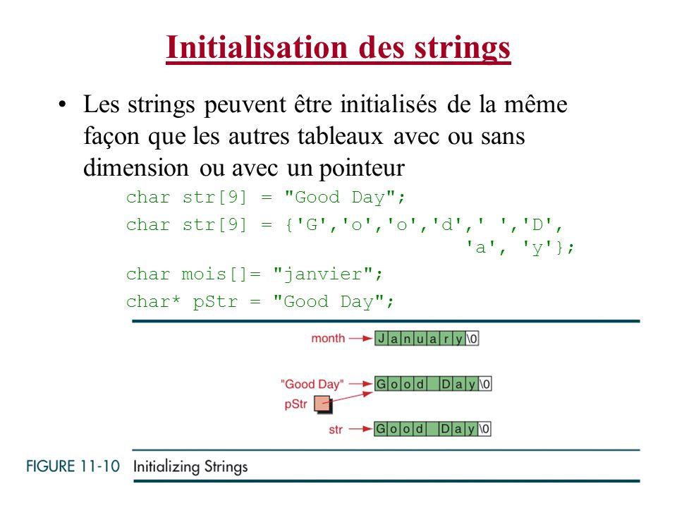 21-Jan-14 13 JGA Beaulieu Initialisation des strings Les strings peuvent être initialisés de la même façon que les autres tableaux avec ou sans dimens