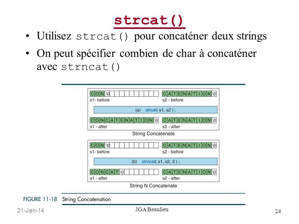 21-Jan-14 24 JGA Beaulieu strcat() Utilisez strcat() pour concaténer deux strings On peut spécifier combien de char à concaténer avec strncat()