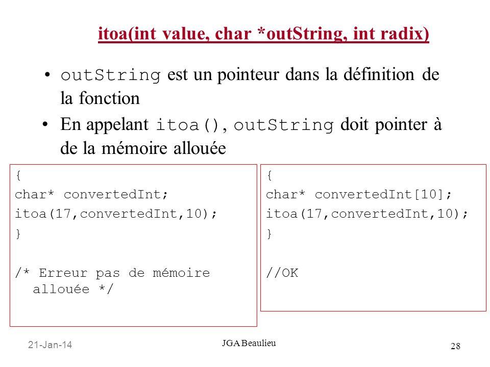 21-Jan-14 28 JGA Beaulieu itoa(int value, char *outString, int radix) outString est un pointeur dans la définition de la fonction En appelant itoa(),