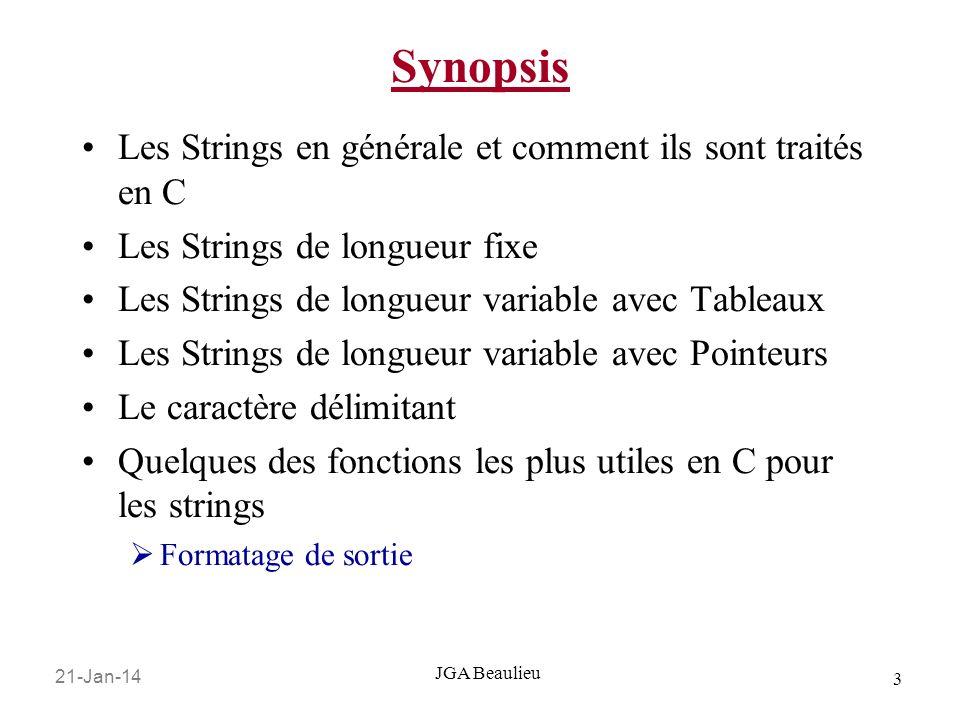 21-Jan-14 3 JGA Beaulieu Synopsis Les Strings en générale et comment ils sont traités en C Les Strings de longueur fixe Les Strings de longueur variab