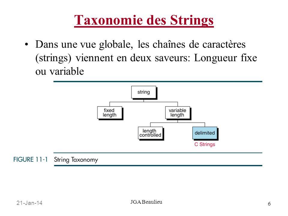 21-Jan-14 6 JGA Beaulieu Taxonomie des Strings Dans une vue globale, les chaînes de caractères (strings) viennent en deux saveurs: Longueur fixe ou va