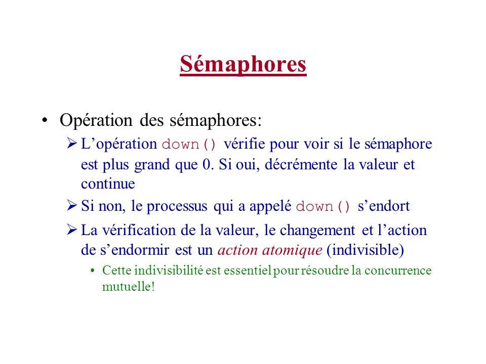 Sémaphores Opération des sémaphores: Lopération down() vérifie pour voir si le sémaphore est plus grand que 0.