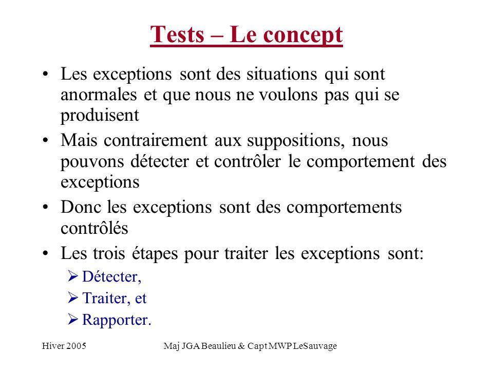 Hiver 2005Maj JGA Beaulieu & Capt MWP LeSauvage Tests – Le concept Les exceptions sont des situations qui sont anormales et que nous ne voulons pas qui se produisent Mais contrairement aux suppositions, nous pouvons détecter et contrôler le comportement des exceptions Donc les exceptions sont des comportements contrôlés Les trois étapes pour traiter les exceptions sont: Détecter, Traiter, et Rapporter.
