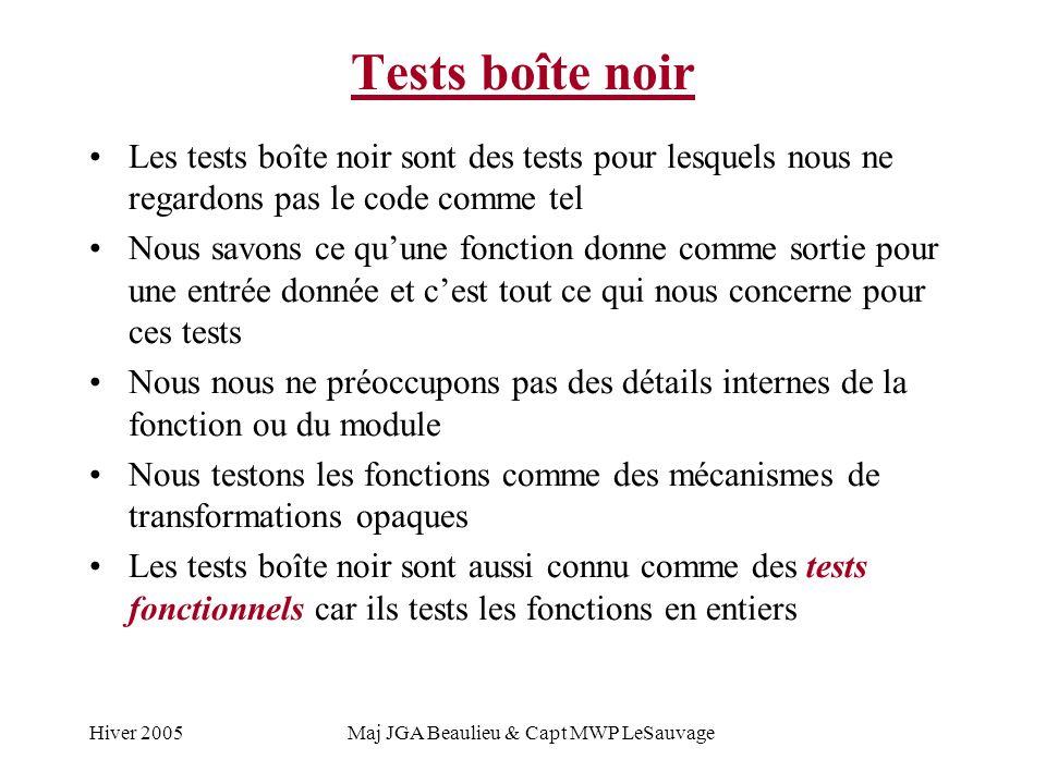 Hiver 2005Maj JGA Beaulieu & Capt MWP LeSauvage Tests boîte noir Les tests boîte noir sont des tests pour lesquels nous ne regardons pas le code comme tel Nous savons ce quune fonction donne comme sortie pour une entrée donnée et cest tout ce qui nous concerne pour ces tests Nous nous ne préoccupons pas des détails internes de la fonction ou du module Nous testons les fonctions comme des mécanismes de transformations opaques Les tests boîte noir sont aussi connu comme des tests fonctionnels car ils tests les fonctions en entiers