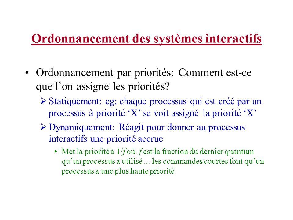 Ordonnancement des systèmes interactifs Ordonnancement par priorités: Comment est-ce que lon assigne les priorités? Statiquement: eg: chaque processus