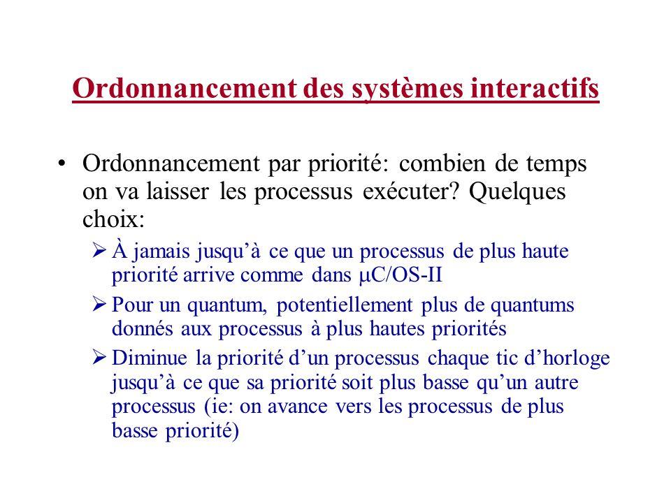 Ordonnancement des systèmes interactifs Ordonnancement par priorité: combien de temps on va laisser les processus exécuter? Quelques choix: À jamais j