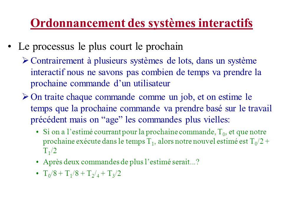Ordonnancement des systèmes interactifs Le processus le plus court le prochain Contrairement à plusieurs systèmes de lots, dans un système interactif