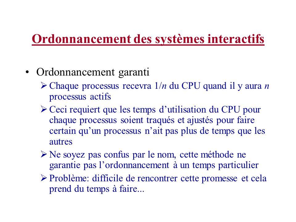 Ordonnancement des systèmes interactifs Ordonnancement garanti Chaque processus recevra 1/n du CPU quand il y aura n processus actifs Ceci requiert qu