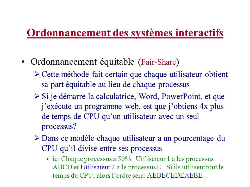 Ordonnancement des systèmes interactifs Ordonnancement équitable ( Fair-Share ) Cette méthode fait certain que chaque utilisateur obtient sa part équi