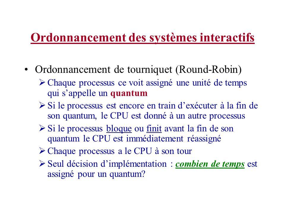 Ordonnancement des systèmes interactifs Ordonnancement de tourniquet (Round-Robin) Chaque processus ce voit assigné une unité de temps qui sappelle un