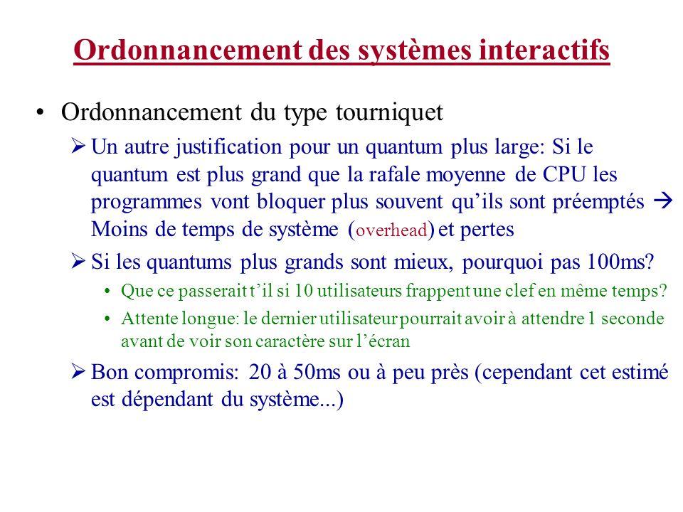 Ordonnancement des systèmes interactifs Ordonnancement du type tourniquet Un autre justification pour un quantum plus large: Si le quantum est plus gr