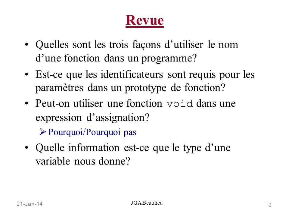 21-Jan-14 2 JGA Beaulieu Revue Quelles sont les trois façons dutiliser le nom dune fonction dans un programme? Est-ce que les identificateurs sont req