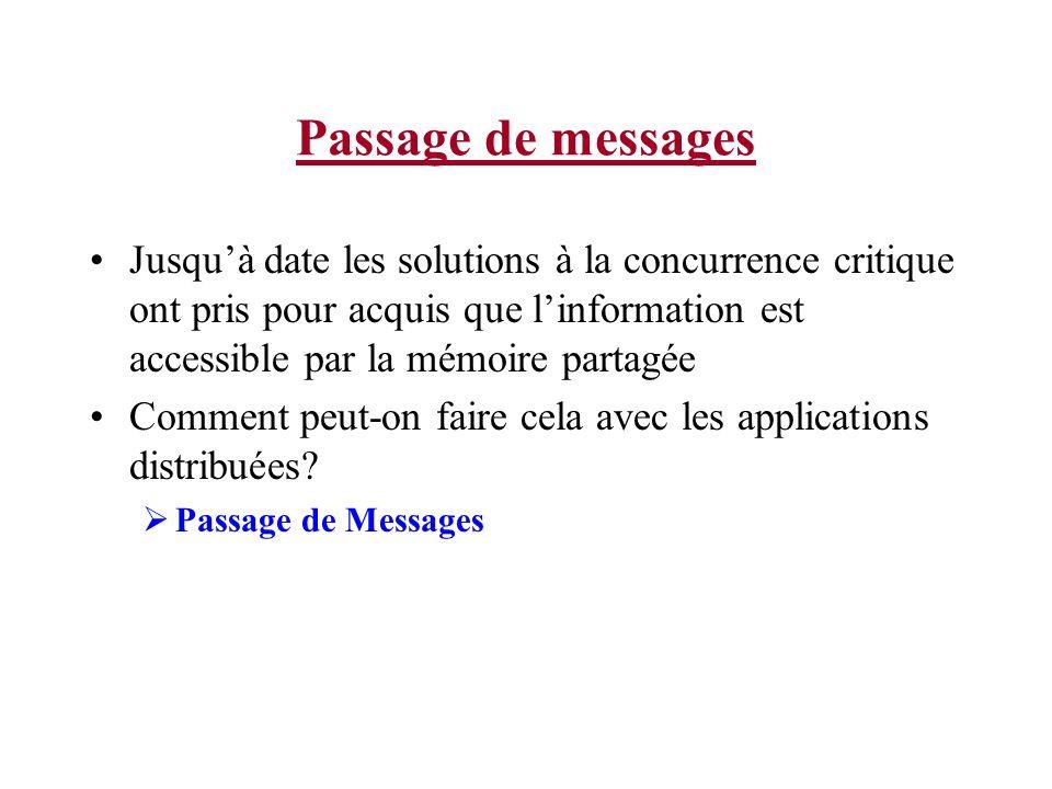 Passage de messages Jusquà date les solutions à la concurrence critique ont pris pour acquis que linformation est accessible par la mémoire partagée Comment peut-on faire cela avec les applications distribuées.