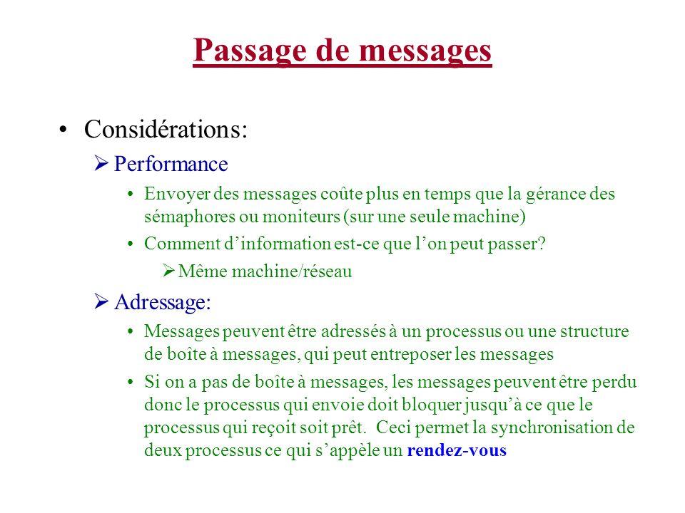 Passage de messages Considérations: Performance Envoyer des messages coûte plus en temps que la gérance des sémaphores ou moniteurs (sur une seule machine) Comment dinformation est-ce que lon peut passer.