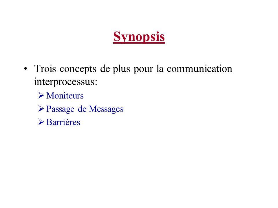 Synopsis Trois concepts de plus pour la communication interprocessus: Moniteurs Passage de Messages Barrières