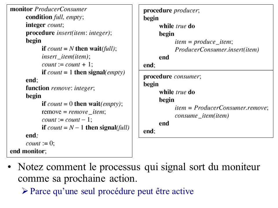 Moniteurs Les signaux ne sont pas accumulés dans ce système wait() doit arriver avant signal() Pas difficile considérant que seul un processus à la fois doit être actif dans le moniteur Sortir du moniteur après un signal() est vital à lopération du moniteur Autrement deux processus pourraient être simultanément actifs dans le moniteur Autres options: Suspendre le processus qui appèle signal() Permettre le processus signaleur de finir et de sortir du moniteur: signal() attend