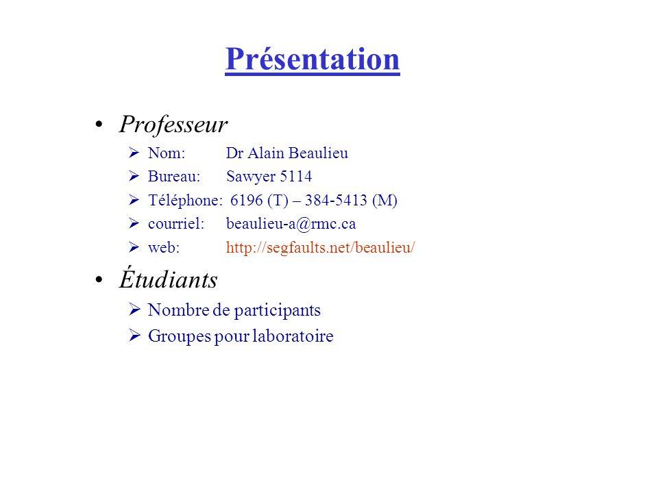 Présentation Professeur Nom:Dr Alain Beaulieu Bureau:Sawyer 5114 Téléphone: 6196 (T) – 384-5413 (M) courriel:beaulieu-a@rmc.ca web:http://segfaults.net/beaulieu/ Étudiants Nombre de participants Groupes pour laboratoire