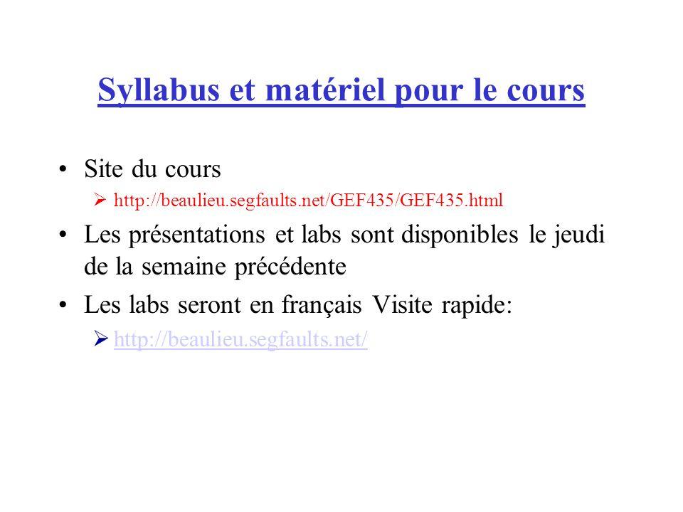 Syllabus et matériel pour le cours Site du cours http://beaulieu.segfaults.net/GEF435/GEF435.html Les présentations et labs sont disponibles le jeudi de la semaine précédente Les labs seront en français Visite rapide: http://beaulieu.segfaults.net/