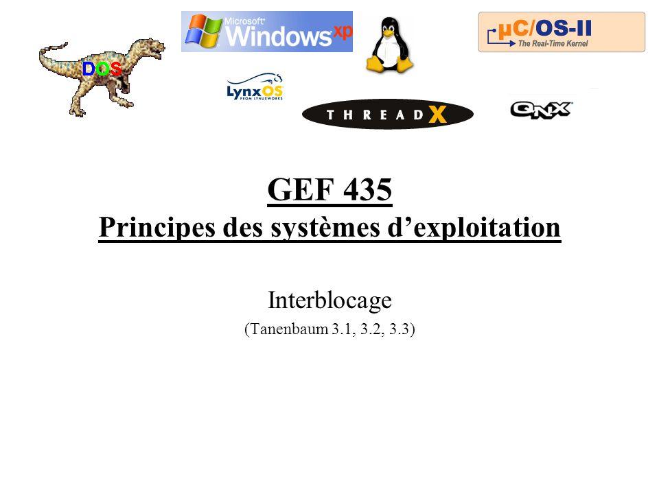 GEF 435 Principes des systèmes dexploitation Interblocage (Tanenbaum 3.1, 3.2, 3.3)