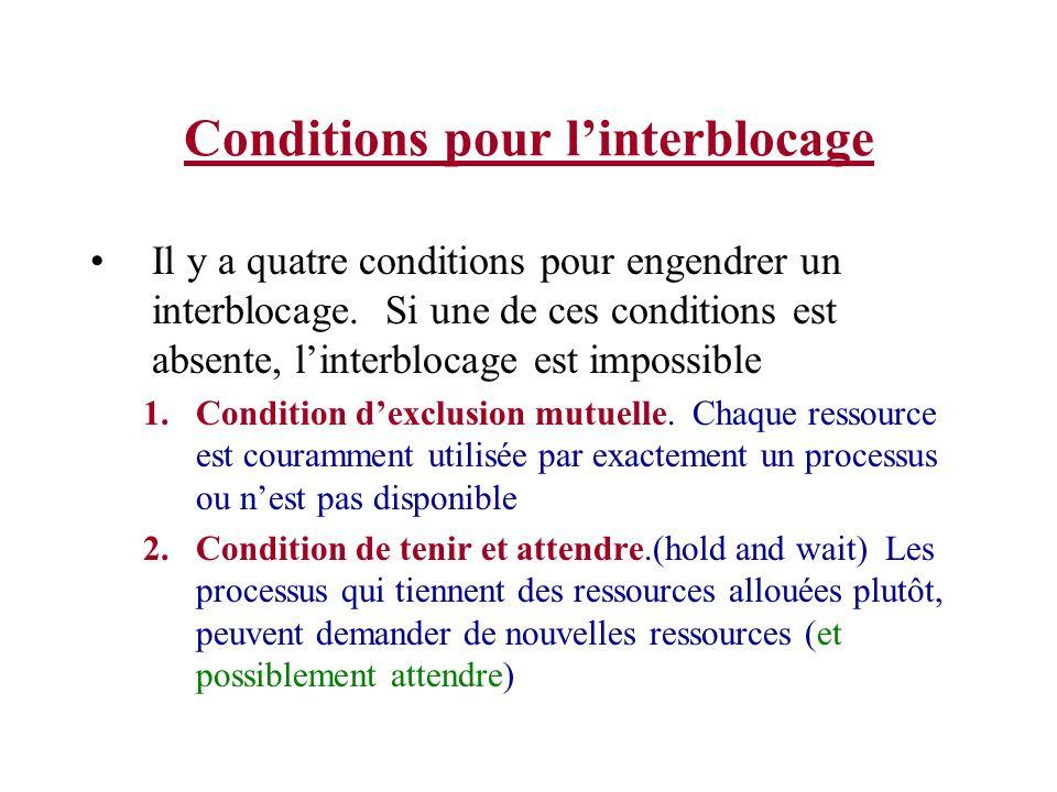 Conditions pour linterblocage Il y a quatre conditions pour engendrer un interblocage. Si une de ces conditions est absente, linterblocage est impossi
