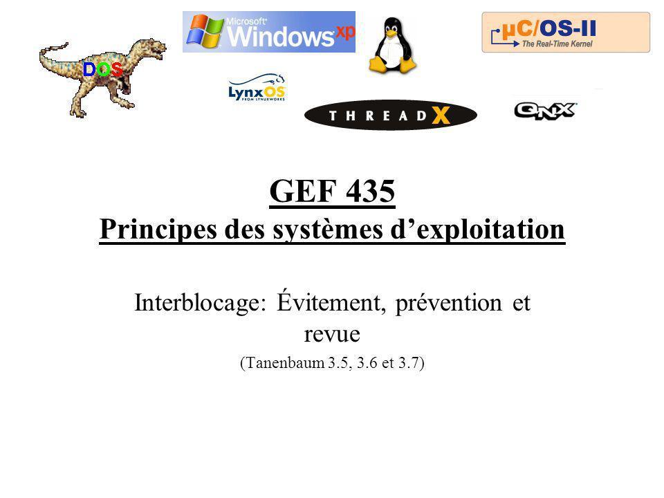 GEF 435 Principes des systèmes dexploitation Interblocage: Évitement, prévention et revue (Tanenbaum 3.5, 3.6 et 3.7)