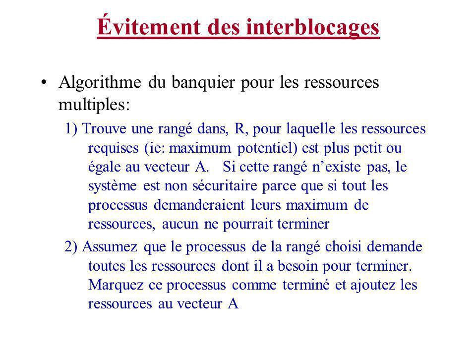 Évitement des interblocages Algorithme du banquier pour les ressources multiples: 1) Trouve une rangé dans, R, pour laquelle les ressources requises (