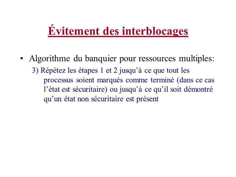 Évitement des interblocages Algorithme du banquier pour ressources multiples: 3) Répétez les étapes 1 et 2 jusquà ce que tout les processus soient mar