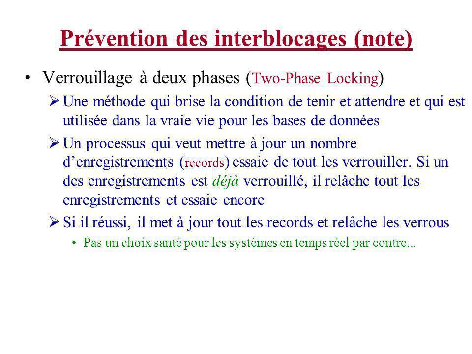 Prévention des interblocages (note) Verrouillage à deux phases ( Two-Phase Locking ) Une méthode qui brise la condition de tenir et attendre et qui es