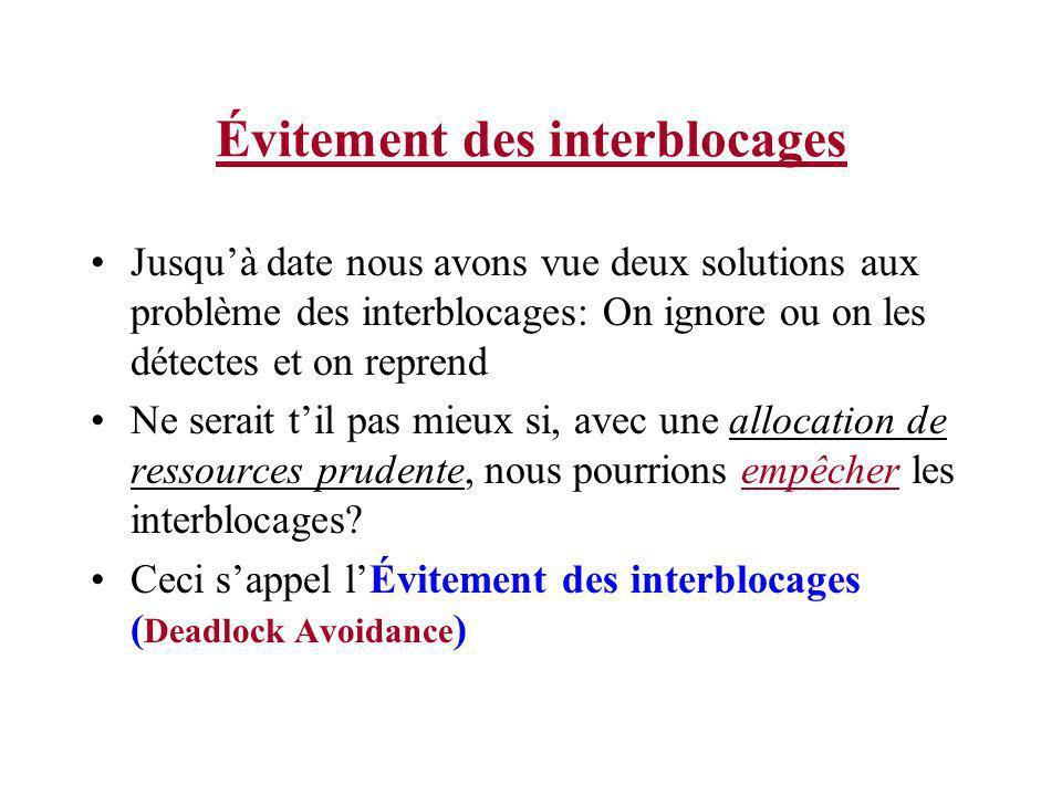 Évitement des interblocages Jusquà date nous avons vue deux solutions aux problème des interblocages: On ignore ou on les détectes et on reprend Ne se