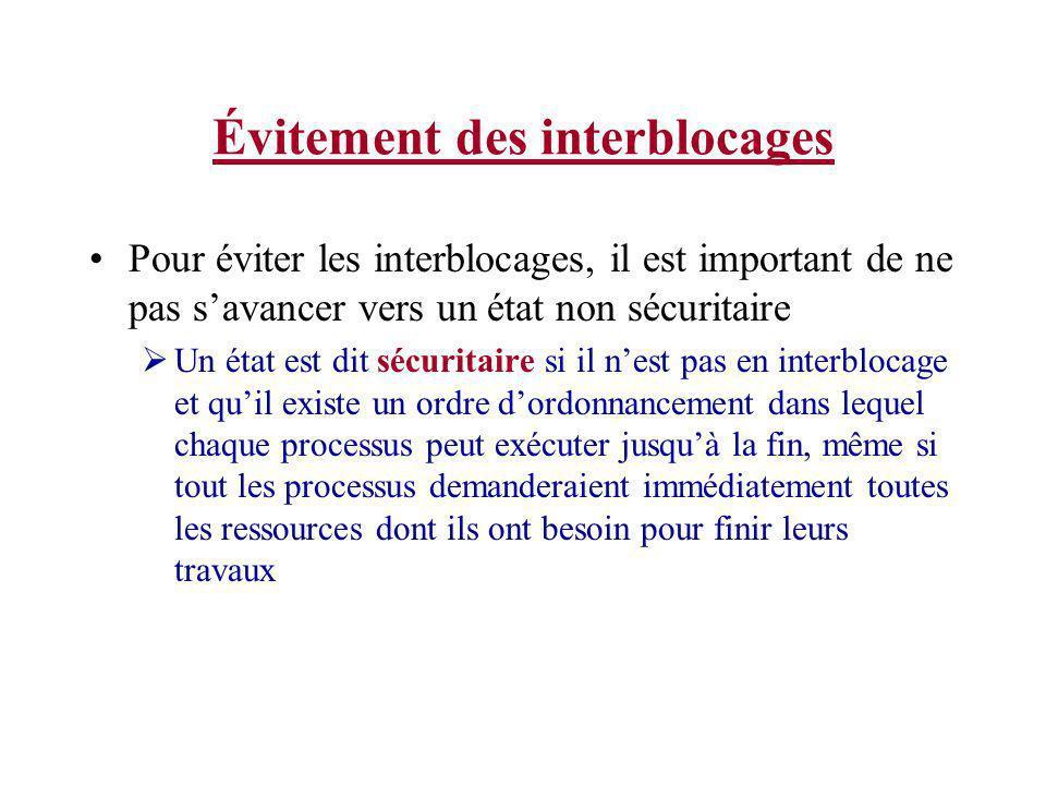 Évitement des interblocages Si tout les processus demandent leurs maximum de ressources, est-ce que létat de départ est sécuritaire.