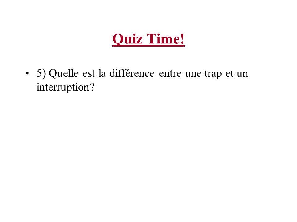 Quiz Time! 5) Quelle est la différence entre une trap et un interruption