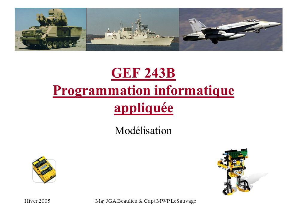Hiver 2005Maj JGA Beaulieu & Capt MWP LeSauvage GEF 243B Programmation informatique appliquée Modélisation