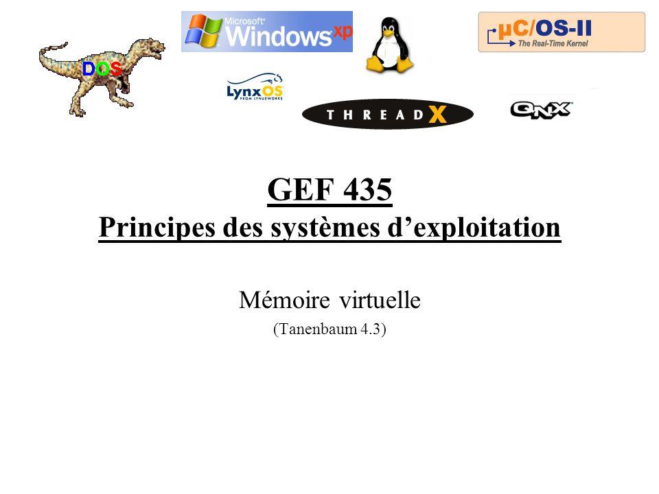 GEF 435 Principes des systèmes dexploitation Mémoire virtuelle (Tanenbaum 4.3)
