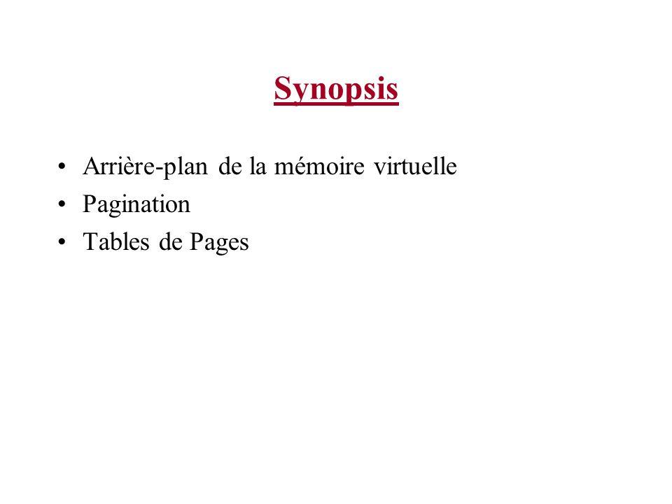 Synopsis Arrière-plan de la mémoire virtuelle Pagination Tables de Pages