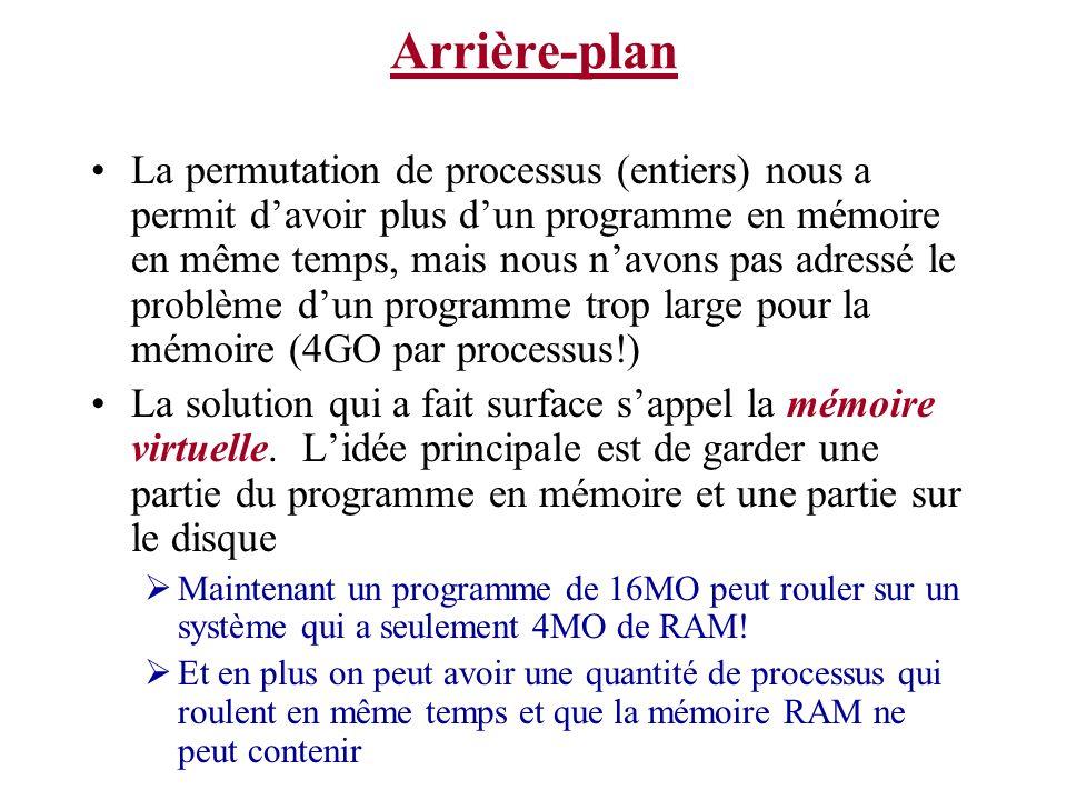 Arrière-plan La permutation de processus (entiers) nous a permit davoir plus dun programme en mémoire en même temps, mais nous navons pas adressé le problème dun programme trop large pour la mémoire (4GO par processus!) La solution qui a fait surface sappel la mémoire virtuelle.