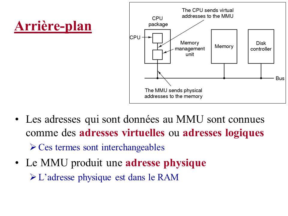 Arrière-plan Les adresses qui sont données au MMU sont connues comme des adresses virtuelles ou adresses logiques Ces termes sont interchangeables Le MMU produit une adresse physique Ladresse physique est dans le RAM