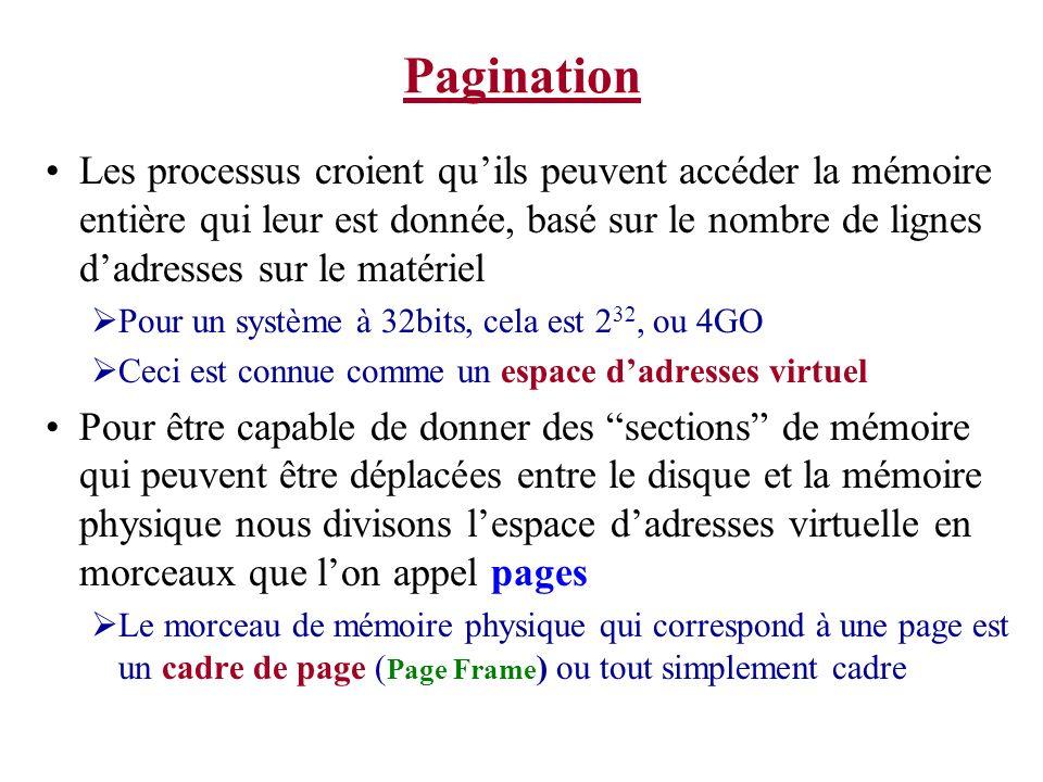 Pagination Les processus croient quils peuvent accéder la mémoire entière qui leur est donnée, basé sur le nombre de lignes dadresses sur le matériel Pour un système à 32bits, cela est 2 32, ou 4GO Ceci est connue comme un espace dadresses virtuel Pour être capable de donner des sections de mémoire qui peuvent être déplacées entre le disque et la mémoire physique nous divisons lespace dadresses virtuelle en morceaux que lon appel pages Le morceau de mémoire physique qui correspond à une page est un cadre de page ( Page Frame ) ou tout simplement cadre