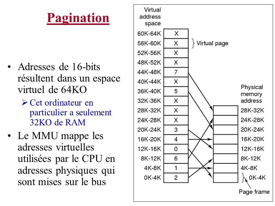 Pagination Adresses de 16-bits résultent dans un espace virtuel de 64KO Cet ordinateur en particulier a seulement 32KO de RAM Le MMU mappe les adresses virtuelles utilisées par le CPU en adresses physiques qui sont mises sur le bus