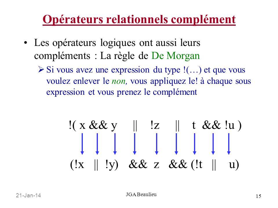 21-Jan-14 15 JGA Beaulieu Opérateurs relationnels complément Les opérateurs logiques ont aussi leurs compléments : La règle de De Morgan Si vous avez